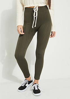 Olive Cable Knit Fleece Lined Leggings