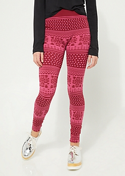 Pink Fair Isle High Rise Leggings