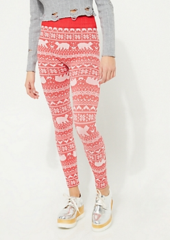 Red Polar Bear Fair Isle Fleece Lined Leggings
