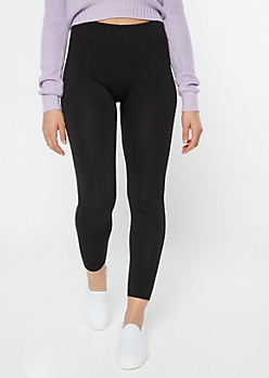 Black High Waisted Seamless Fleece Lined Leggings