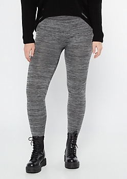 Black Space Dye High Waisted Seamless Fleece Lined Leggings