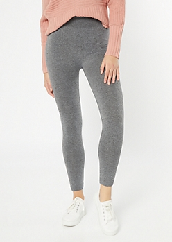 Heather Gray High Waisted Seamless Fleece Lined Leggings