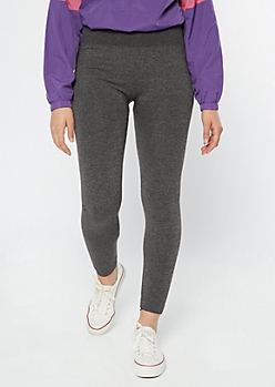 Charcoal Gray High Waisted Seamless Fleece Lined Leggings
