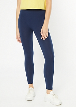 Navy High Waisted Seamless Fleece Lined Leggings
