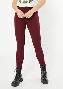 Burgundy High Waisted Seamless Fleece Lined Leggings