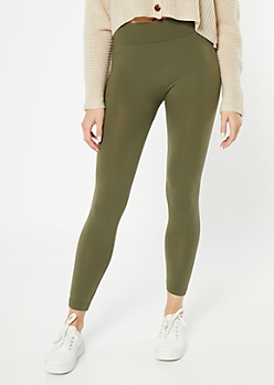Olive High Waisted Seamless Fleece Lined Leggings