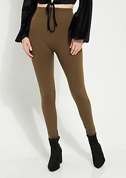 Olive Fleece Slimming Leggings