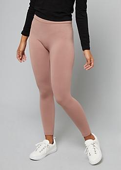 Pink High Waisted Fleece Leggings