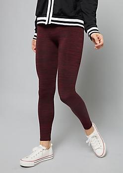 Burgundy Space Dye Fleece High Waisted Leggings