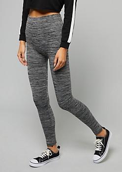 Black Space Dye Fleece Lined High Waisted Leggings