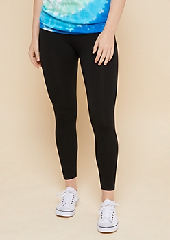 Black High Waisted Cropped Fleece Leggings