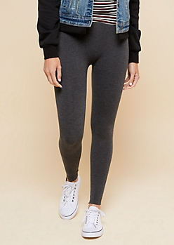 Charcoal Gray High Waisted Cropped Fleece Leggings