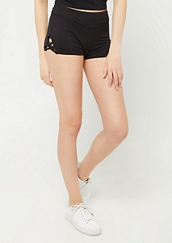 Black Low Rise Lattice Knit Shorts