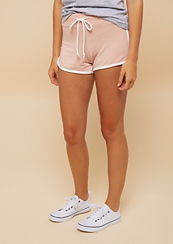 Pink Drawstring Waist Dolphin Shorts