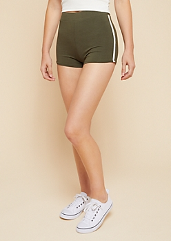 Olive Side Striped Mid Rise Knit Shorts
