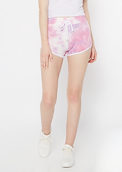Purple Tie Dye Super Soft Dolphin Shorts