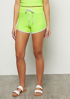 Neon Yellow High Waisted Super Soft Dolphin Shorts