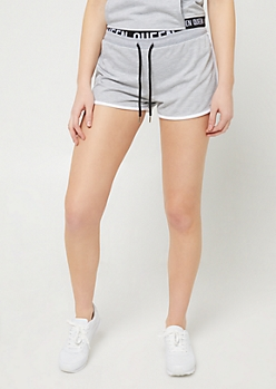 Gray Queen Contrast Dolphin Shorts