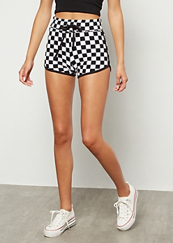 Checkered Print Drawstring Super Soft Dolphin Shorts