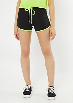 Black Neon Yellow Trim Super Soft Dolphin Shorts