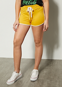 Mustard Lace Up Front Dolphin Shorts