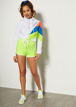 Neon Yellow Lace Up Front Dolphin Shorts