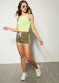 Olive Lace Up Front Dolphin Shorts