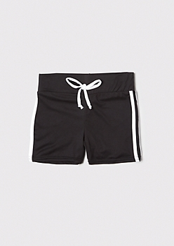 Black Side Striped Active Shorts