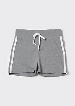 Heather Gray Side Striped Active Shorts