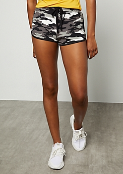 Black Camo Print Super Soft Dolphin Shorts