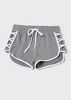 Gray Lace Up Super Soft Dolphin Shorts