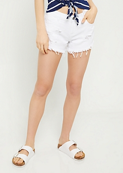 White Low Rise Frayed Waist Jean Shorts