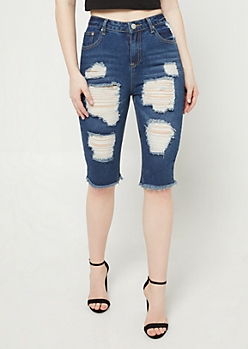 Distressed Frayed Hem Bermuda Shorts
