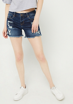 Dark Wash Frayed Hem Midi Shorts