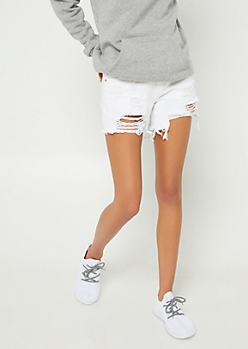 White Destroyed High Low Midi Shorts