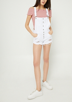 White Distressed Denim Overall Shorts