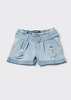 Light Wash Cuffed Paperbag Waist Shorts