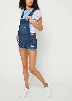 Dark Wash Distressed Cuffed Overall Shorts