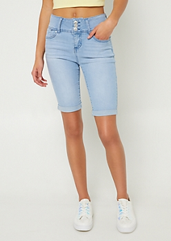 Light Wash Triple Button Cuffed Bermuda Jean Shorts