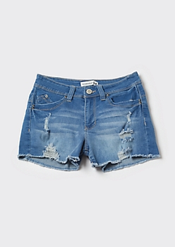YMI Wanna Betta Butt Medium Wash Frayed Booty Shorts