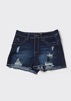 YMI Wanna Betta Butt Dark Wash Frayed Booty Shorts