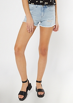 YMI Wanna Betta Butt Light Wash Distressed Jean Shorts