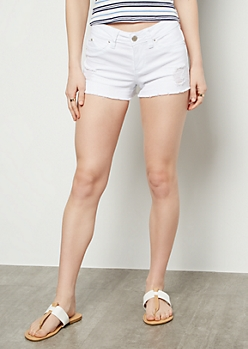 YMI Wanna Betta Butt White Frayed Hem Booty Shorts