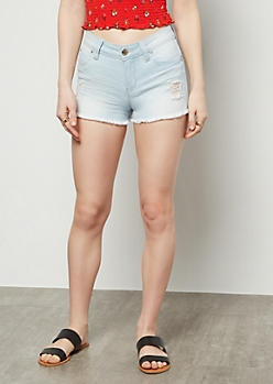 YMI Wanna Betta Butt Light Wash Frayed Hem Booty Shorts
