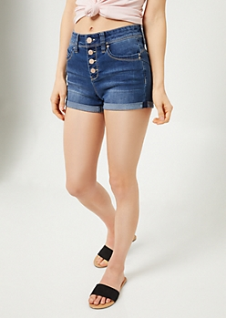 YMI Wanna Betta Butt Dark Wash High Waisted Button Fly Shorts