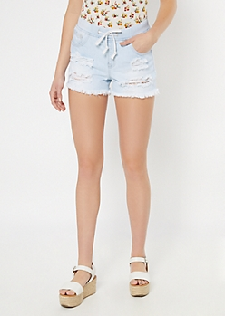 YMI Dream Light Wash Drawstring Ripped Jean Shorts