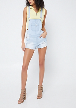 Betta Butt Light Wash Distressed Overall Shorts