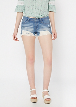 Light Wash Crochet Hem Jean Shorts