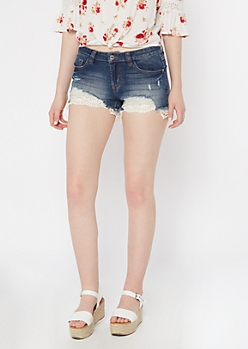 Dark Wash Crochet Hem Jean Shorts