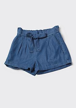 Dark Chambray Cuffed Paperbag Waist Shorts
